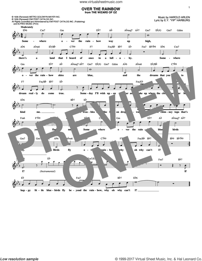 Over The Rainbow sheet music for voice and other instruments (fake book) by Harold Arlen and E.Y. Harburg, intermediate skill level