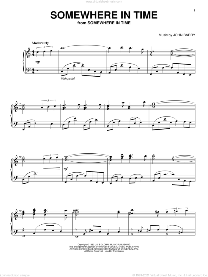 Somewhere In Time sheet music for piano solo by B.A. Robertson and John Barry, intermediate skill level
