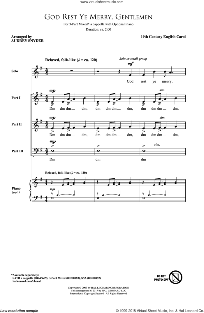 God Rest Ye Merry, Gentlemen sheet music for choir (3-Part Mixed) by Audrey Snyder and 19th Century English Carol, intermediate skill level