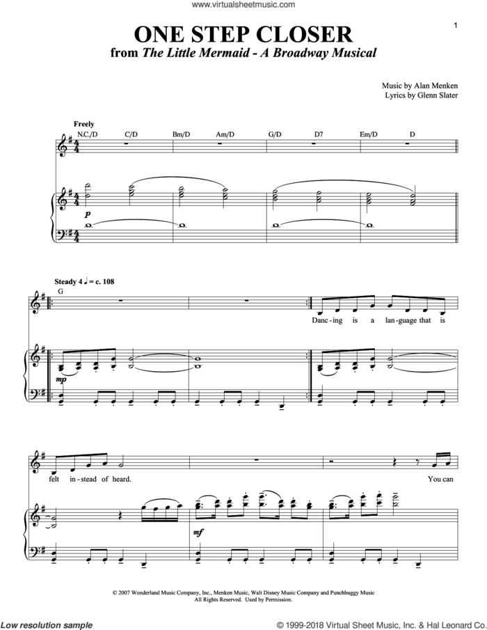 One Step Closer sheet music for voice and piano by Alan Menken and Glenn Slater, intermediate skill level