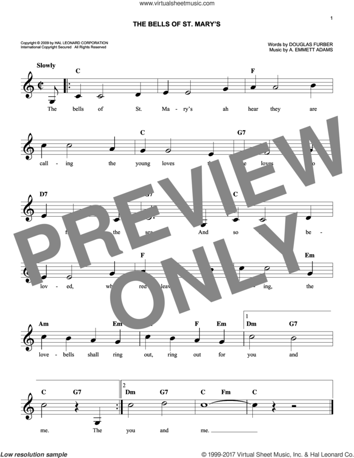 The Bells Of St. Mary's sheet music for voice and other instruments (fake book) by Douglas Furber and A. Emmett Adams, intermediate skill level