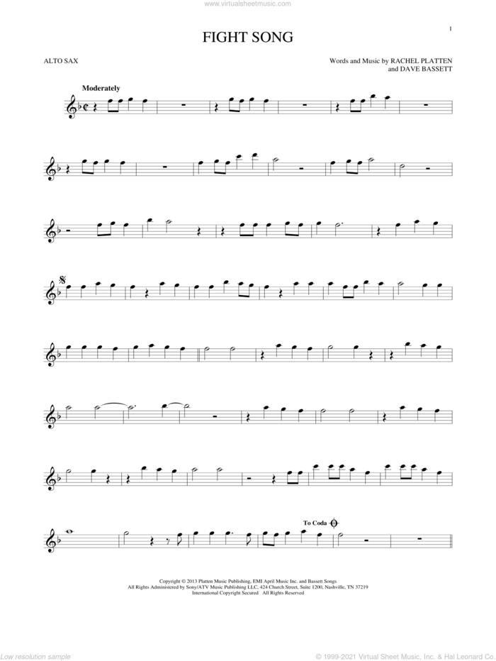 Fight Song sheet music for alto saxophone solo by Rachel Platten and Dave Bassett, intermediate skill level