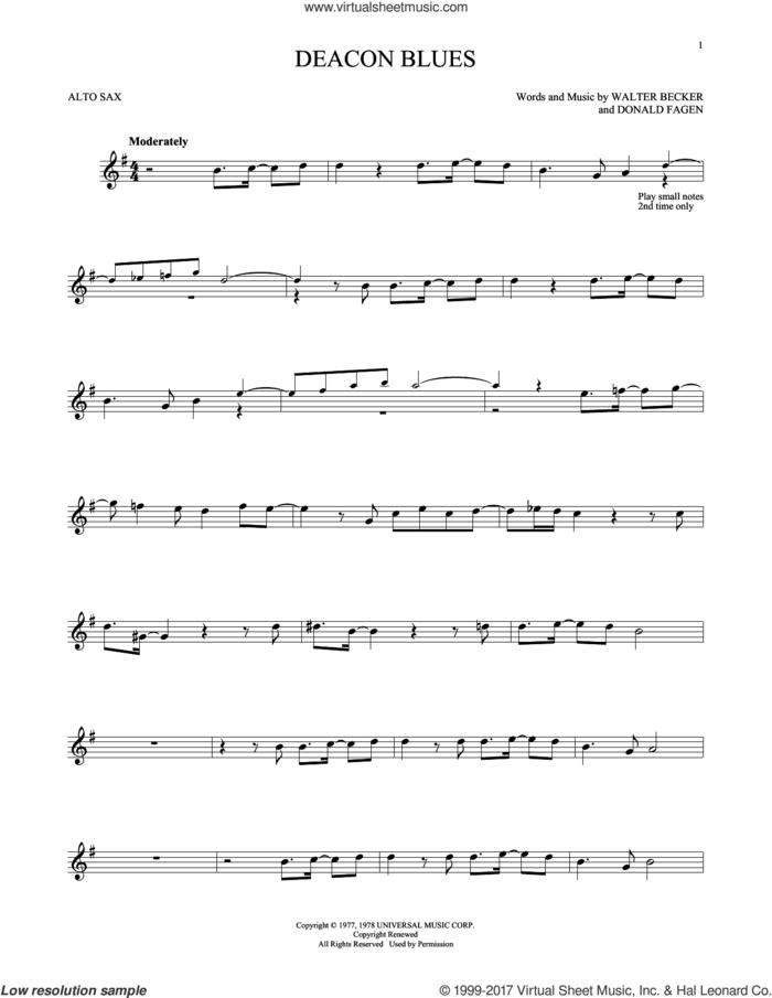 Deacon Blues sheet music for alto saxophone solo by Steely Dan, Donald Fagen and Walter Becker, intermediate skill level