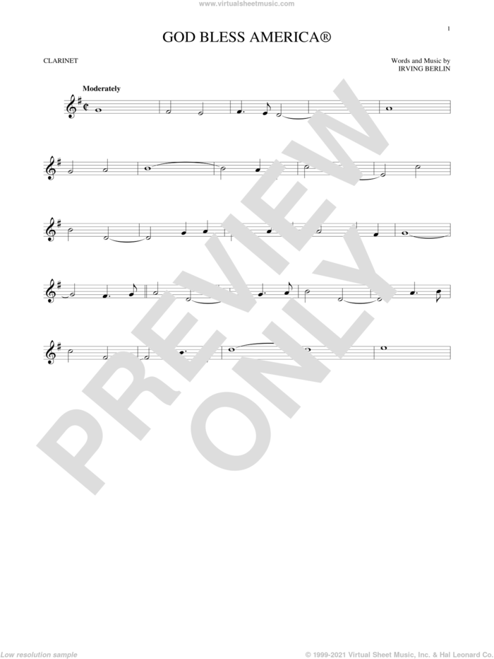 God Bless America sheet music for clarinet solo by Irving Berlin, intermediate skill level