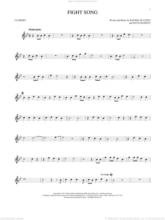 Fight Song sheet music for clarinet solo by Rachel Platten and Dave Bassett, intermediate skill level