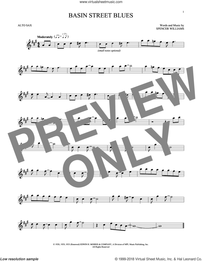 Basin Street Blues sheet music for alto saxophone solo by Spencer Williams, intermediate skill level