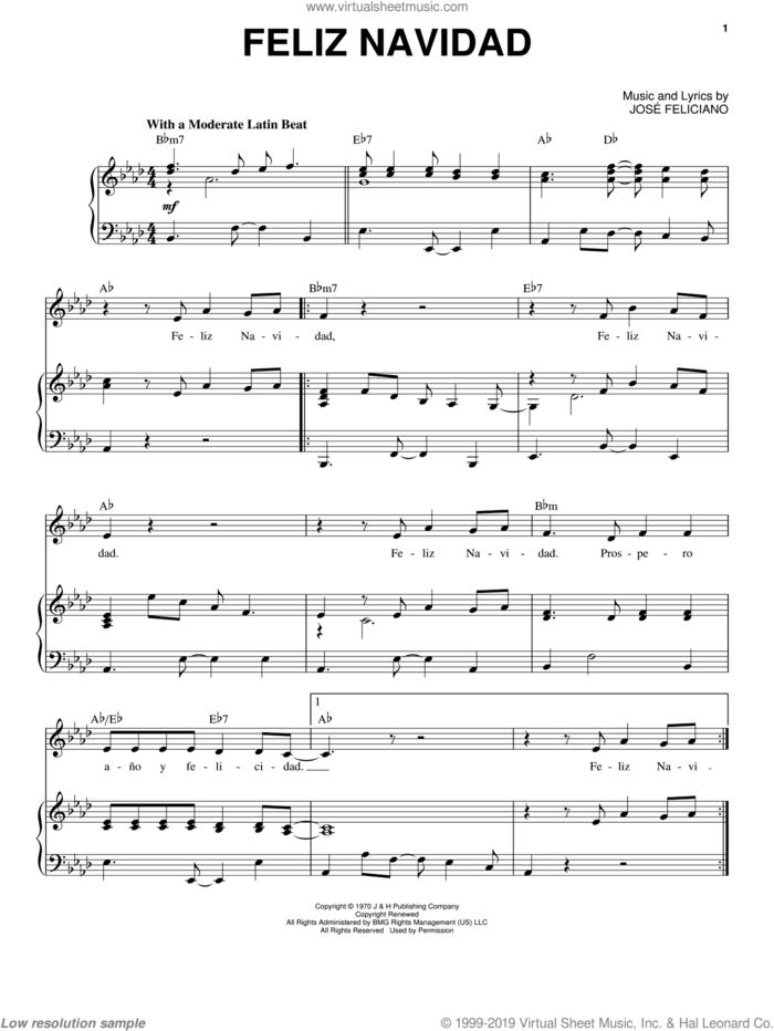 Feliz Navidad sheet music for voice and piano by Jose Feliciano, intermediate skill level