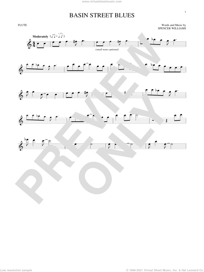 Basin Street Blues sheet music for flute solo by Spencer Williams, intermediate skill level