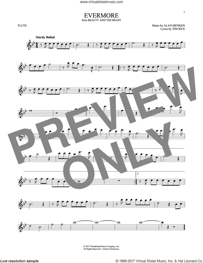 Evermore (from Beauty and the Beast) sheet music for flute solo by Josh Groban, Alan Menken and Tim Rice, intermediate skill level