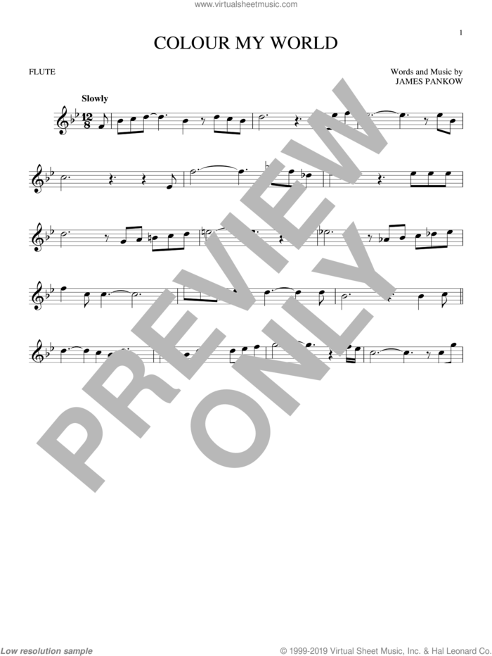 Colour My World sheet music for flute solo by Chicago and James Pankow, intermediate skill level