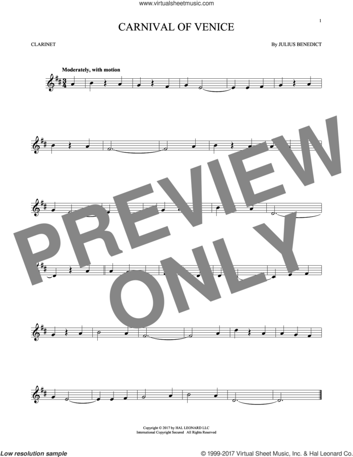Carnival Of Venice sheet music for clarinet solo by Julius Benedict, intermediate skill level
