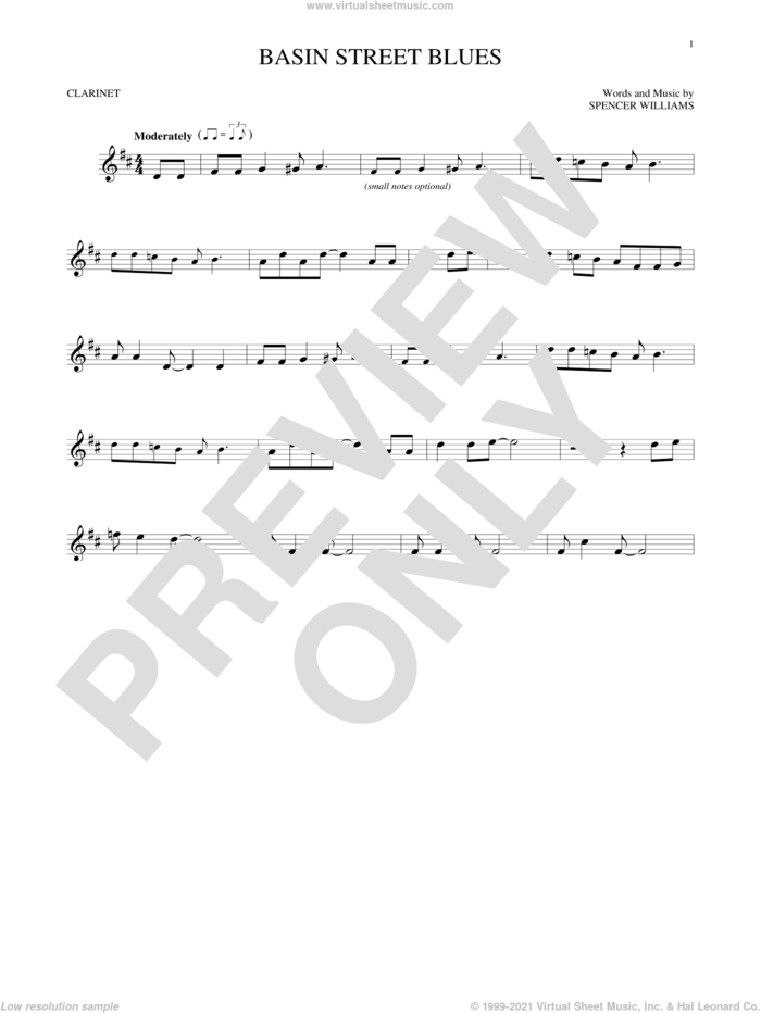 Basin Street Blues sheet music for clarinet solo by Spencer Williams, intermediate skill level