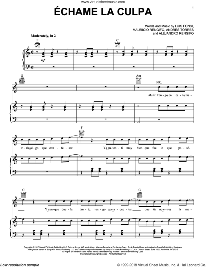 Echame La Culpa sheet music for voice, piano or guitar by Luis Fonsi and Demi Lovato, Alejandro Rengifo, Andres Torres, Luis Fonsi and Mauricio Rengifo, intermediate skill level