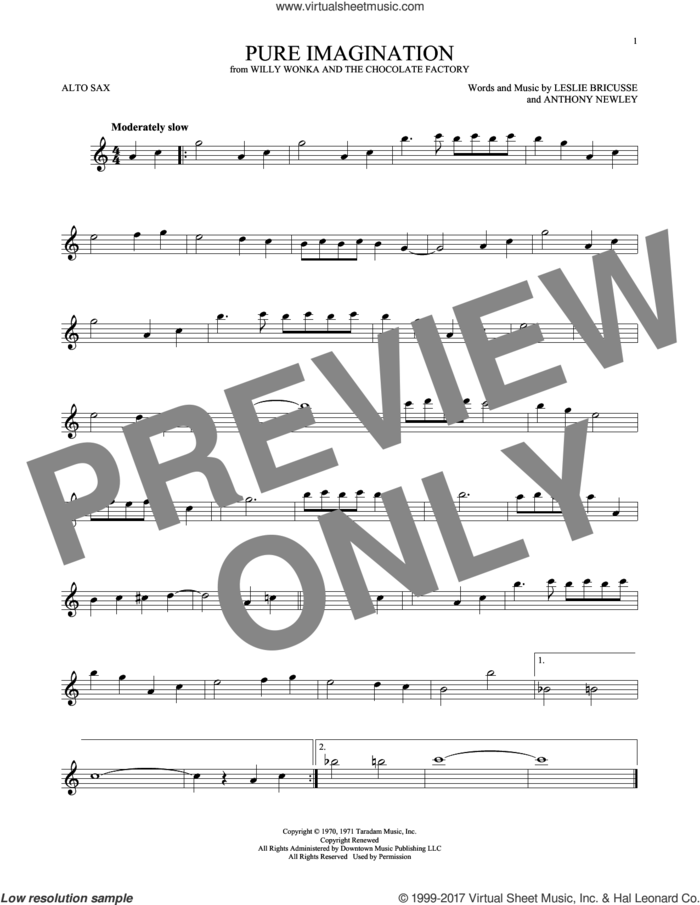 Pure Imagination sheet music for alto saxophone solo by Leslie Bricusse and Anthony Newley, intermediate skill level