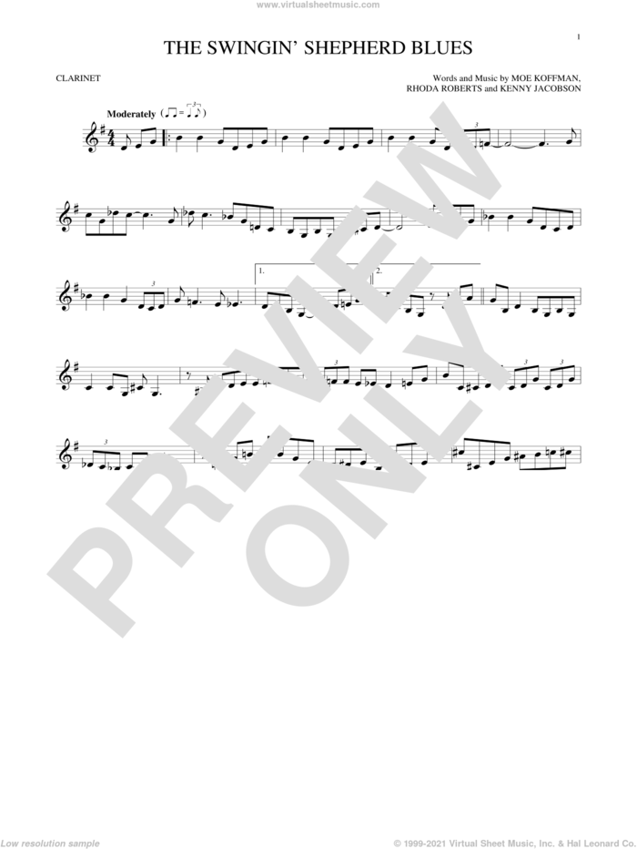 The Swingin' Shepherd Blues sheet music for clarinet solo by Moe Koffman, Kenny Jacobson and Rhoda Roberts, intermediate skill level