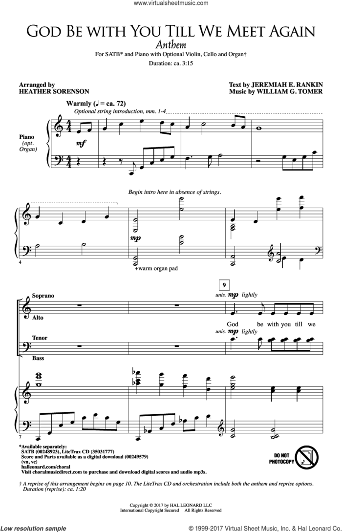 God Be With You Till We Meet Again sheet music for choir (SATB: soprano, alto, tenor, bass) by Jeremiah E. Rankin, Heather Sorenson, Jeremiah F. Rankin and William G. Tomer, intermediate skill level