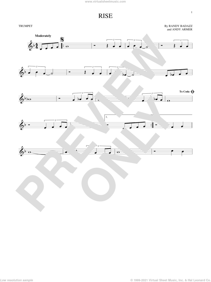 Rise sheet music for trumpet solo by Herb Alpert, Andy Armer and Randy Badazz, intermediate skill level
