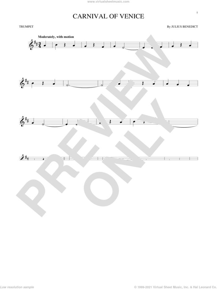Carnival Of Venice sheet music for trumpet solo by Julius Benedict, intermediate skill level