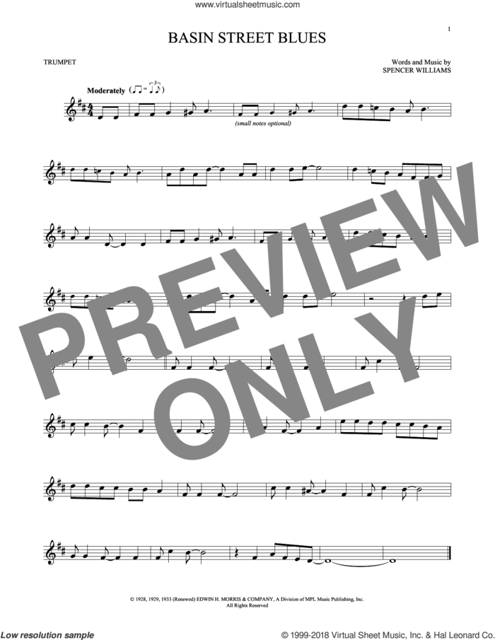 Basin Street Blues sheet music for trumpet solo by Spencer Williams, intermediate skill level