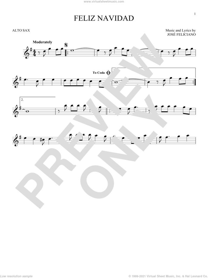Feliz Navidad sheet music for alto saxophone solo by Jose Feliciano, intermediate skill level