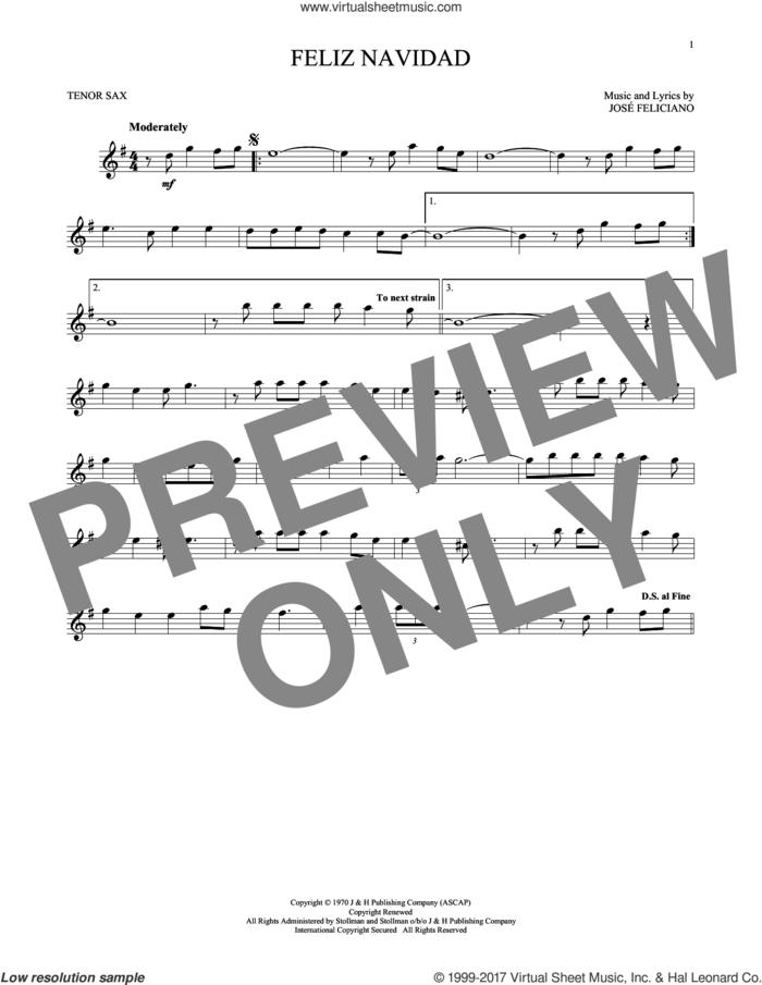 Feliz Navidad sheet music for tenor saxophone solo by Jose Feliciano, intermediate skill level