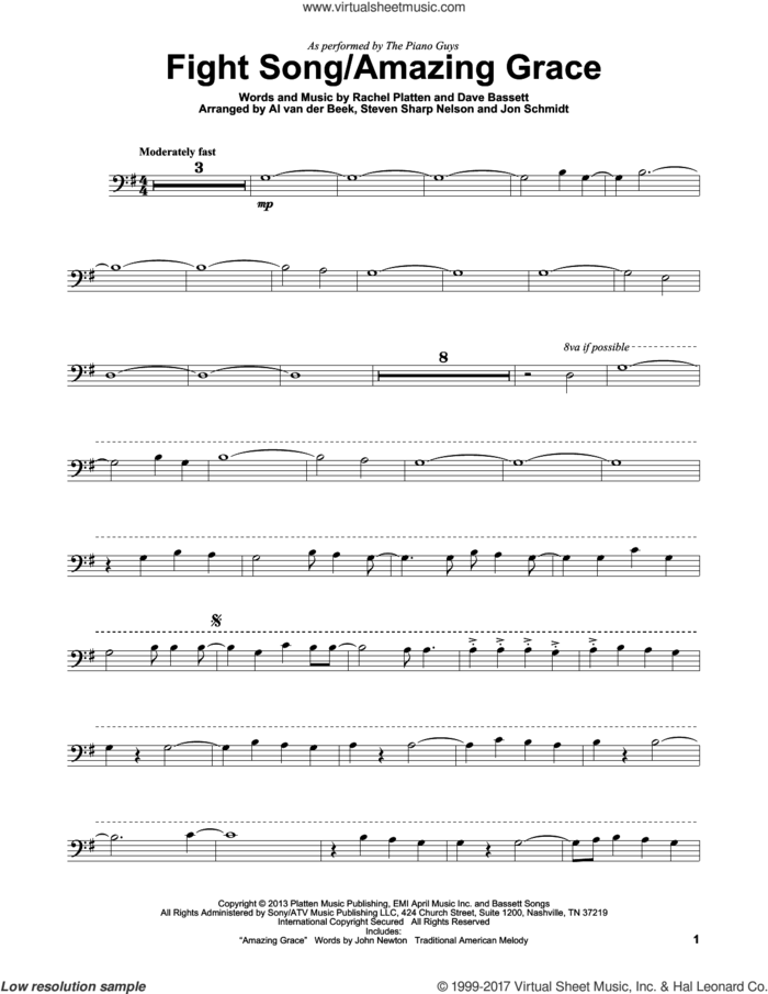 Fight Song/Amazing Grace sheet music for cello solo by The Piano Guys, Dave Bassett and Rachel Platten, intermediate skill level