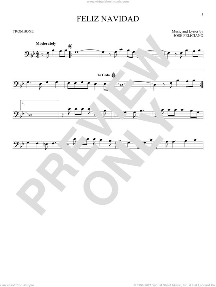 Feliz Navidad sheet music for trombone solo by Jose Feliciano, intermediate skill level