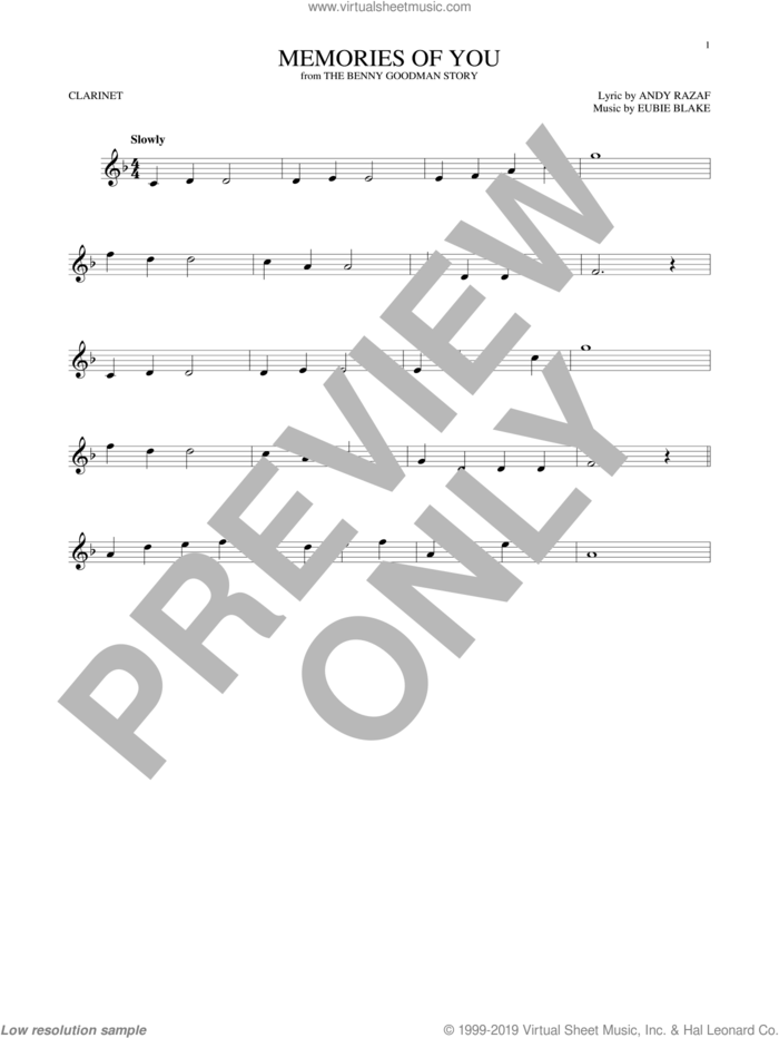 Memories Of You sheet music for clarinet solo by Andy Razaf and Eubie Blake, intermediate skill level