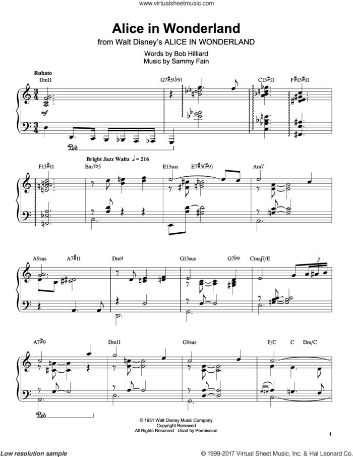 Alice In Wonderland sheet music for piano solo (transcription) by Oscar Peterson, Bill Evans, Bob Hilliard and Sammy Fain, intermediate piano (transcription)