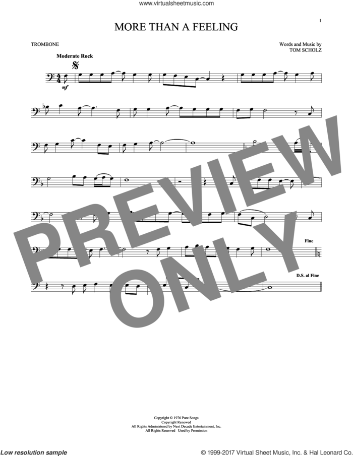 More Than A Feeling sheet music for trombone solo by Boston and Tom Scholz, intermediate skill level