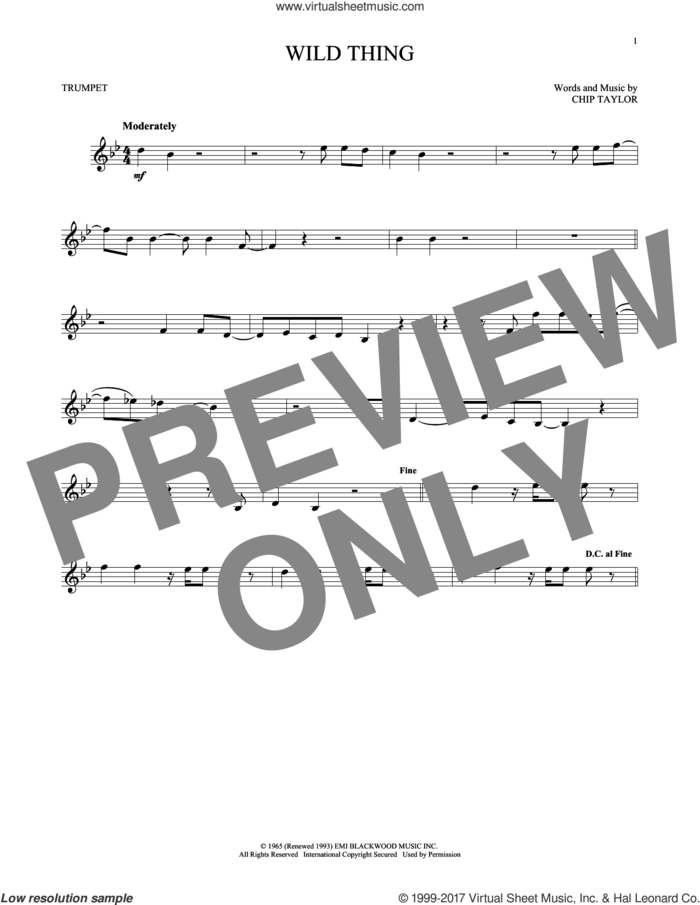 Wild Thing sheet music for trumpet solo by The Troggs and Chip Taylor, intermediate skill level