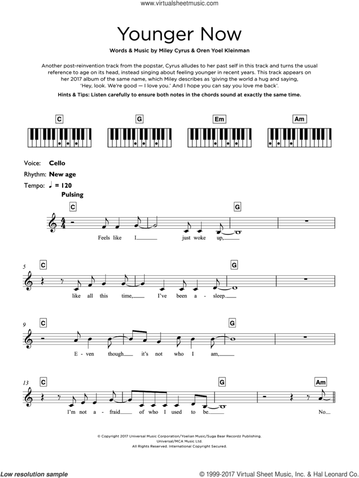 Younger Now sheet music for piano solo (keyboard) by Miley Cyrus and Oren Yoel Kleinman, intermediate piano (keyboard)