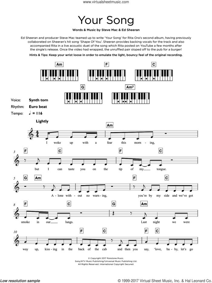 Your Song sheet music for piano solo (keyboard) by Rita Ora, Ed Sheeran and Steve Mac, intermediate piano (keyboard)