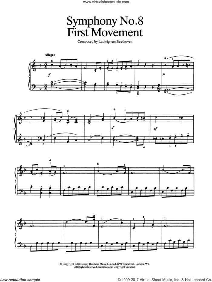 First Movement (from Symphony No. 8 In F Major, Op. 93) sheet music for piano solo by Ludwig van Beethoven, classical score, easy skill level