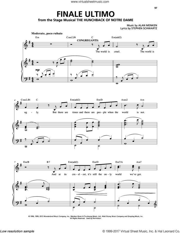 Finale (Ultimo) sheet music for voice and piano by Alan Menken and Stephen Schwartz, intermediate skill level