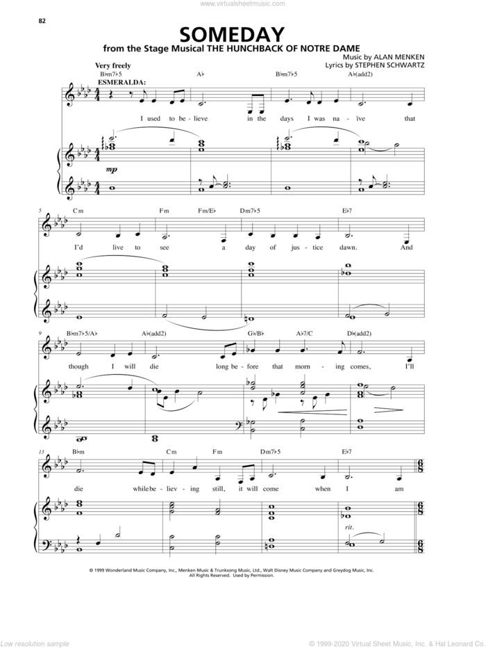 Someday sheet music for voice and piano by Alan Menken and Stephen Schwartz, intermediate skill level