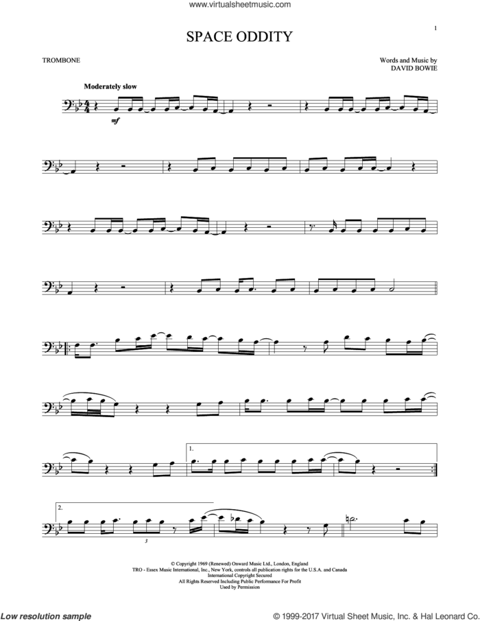 Space Oddity sheet music for trombone solo by David Bowie, intermediate skill level