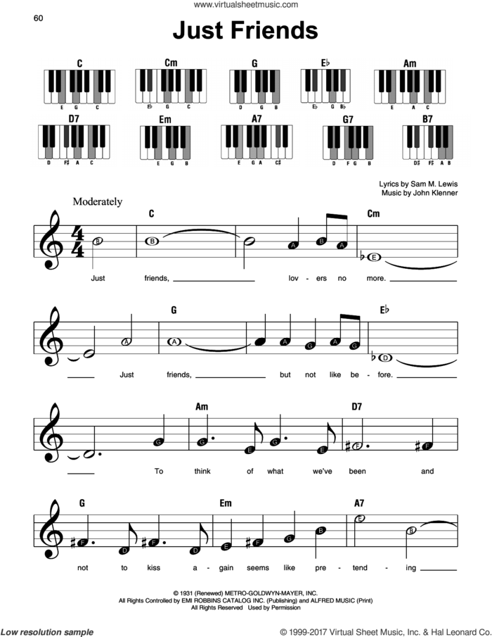Just Friends sheet music for piano solo by Sam Lewis and John Klenner, beginner skill level