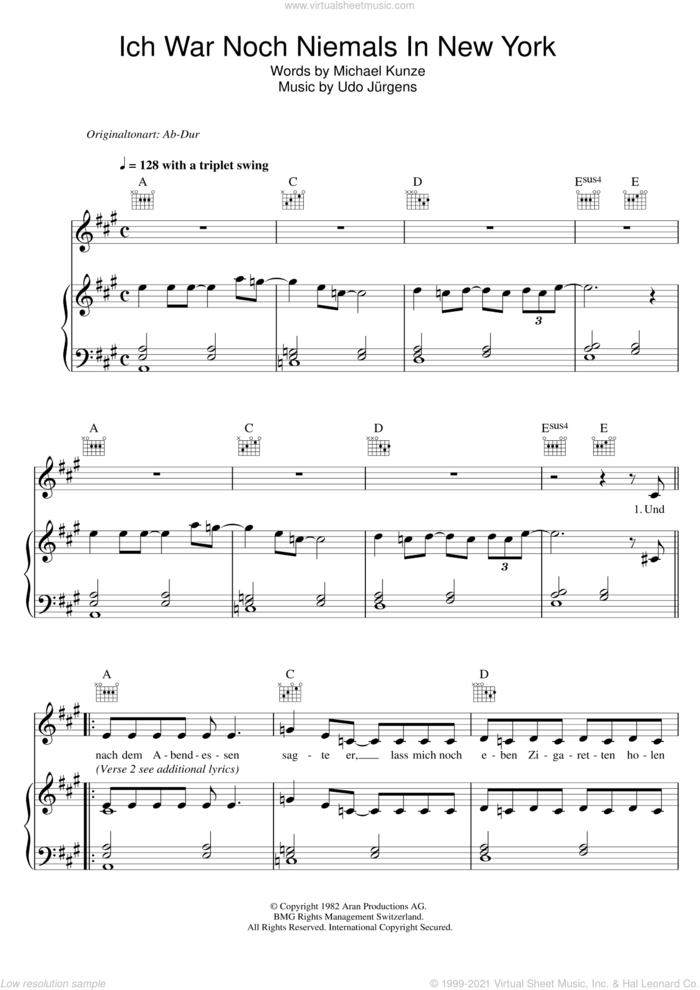 Ich War Noch Niemals In New York sheet music for voice, piano or guitar by Udo Jurgens and Udo Jurgens, intermediate skill level