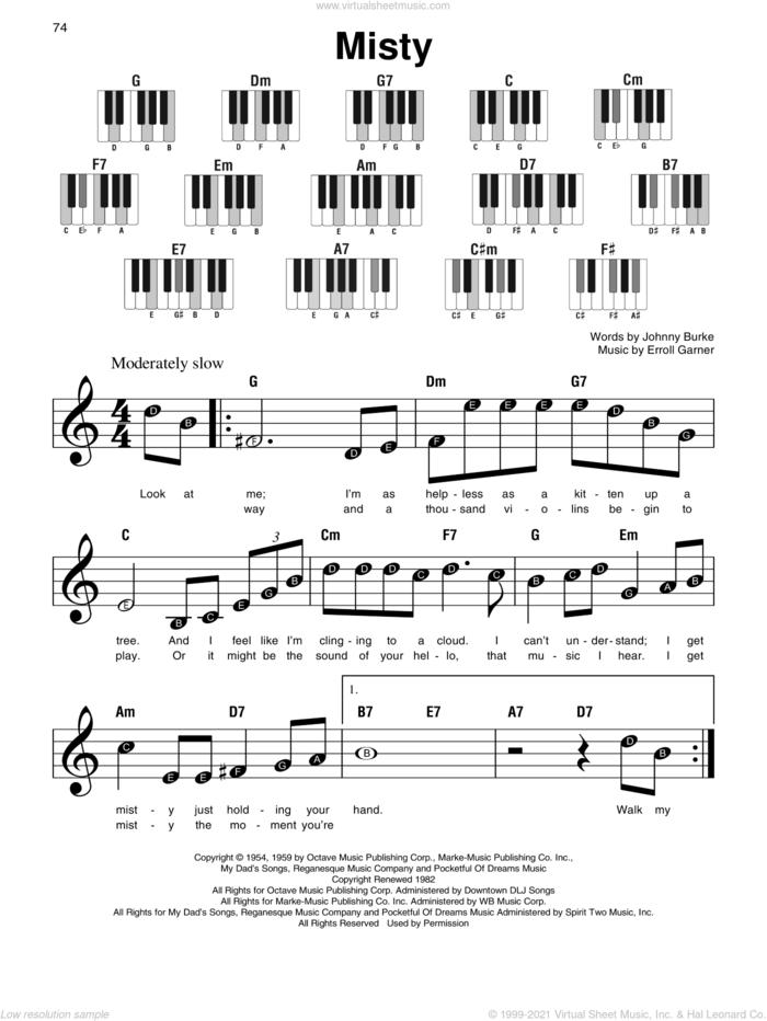 Misty sheet music for piano solo by Johnny Mathis, Erroll Garner and John Burke, beginner skill level