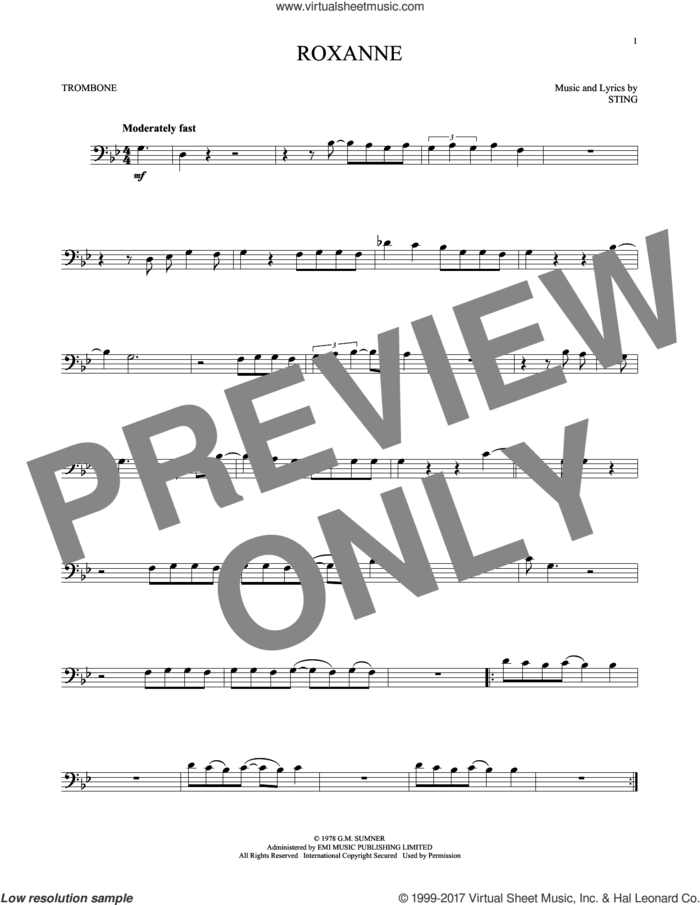 Roxanne sheet music for trombone solo by The Police and Sting, intermediate skill level