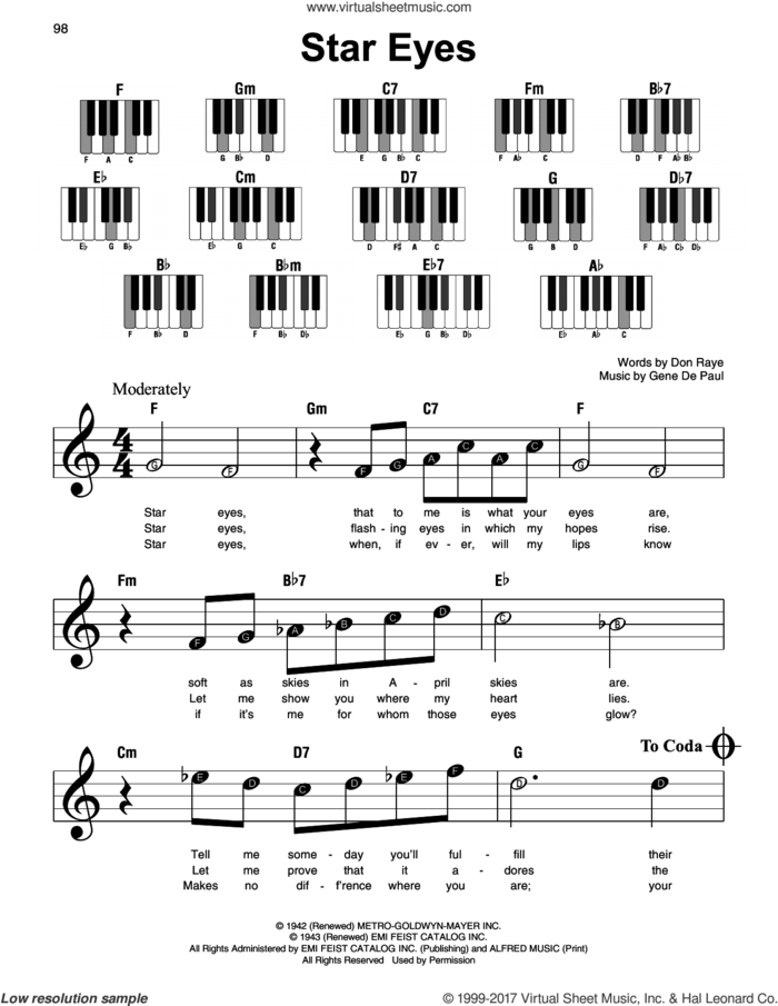 Star Eyes sheet music for piano solo by Charlie Parker, Don Raye and Gene DePaul, beginner skill level