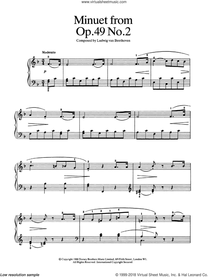 Minuet from Op. 49, No.2 sheet music for piano solo by Ludwig van Beethoven, classical score, easy skill level