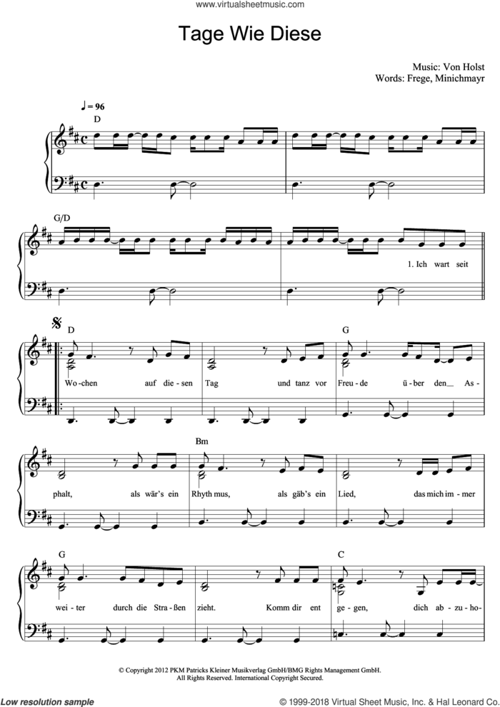 Tage Wie Diese sheet music for voice and piano by Die Toten Hosen and Andreas von Holst, intermediate skill level