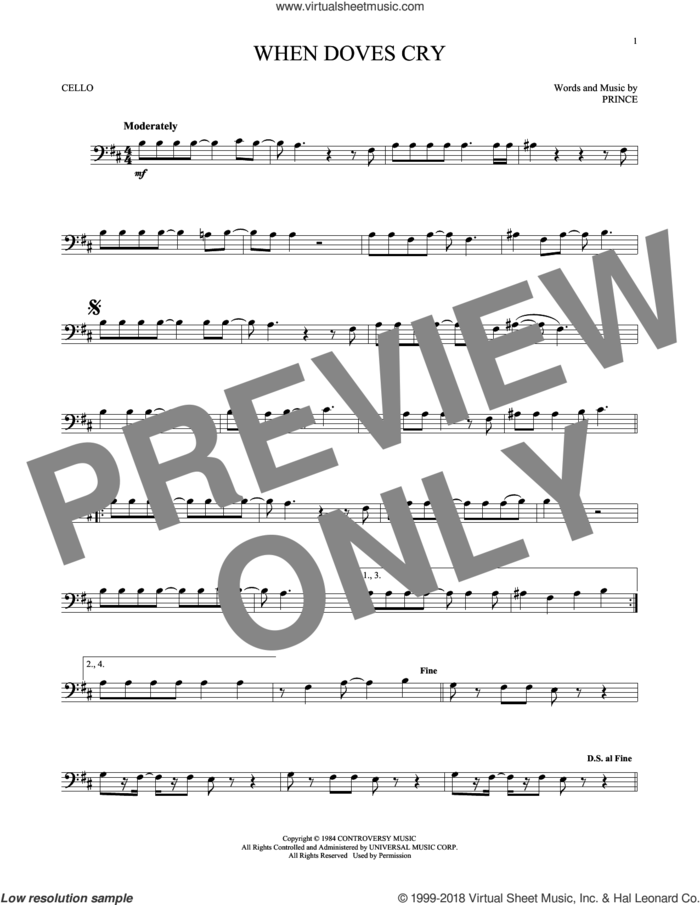 When Doves Cry sheet music for cello solo by Prince, intermediate skill level