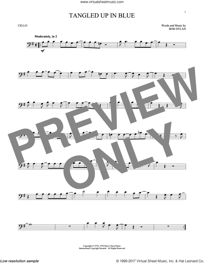 Tangled Up In Blue sheet music for cello solo by Bob Dylan, intermediate skill level