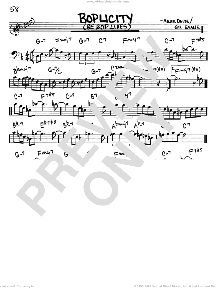 Boplicity (Be Bop Lives) sheet music for voice and other instruments (bass clef) by Miles Davis and Gil Evans, intermediate skill level