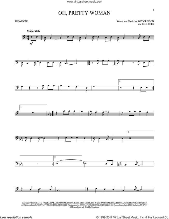 Oh, Pretty Woman sheet music for trombone solo by Roy Orbison and Bill Dees, intermediate skill level