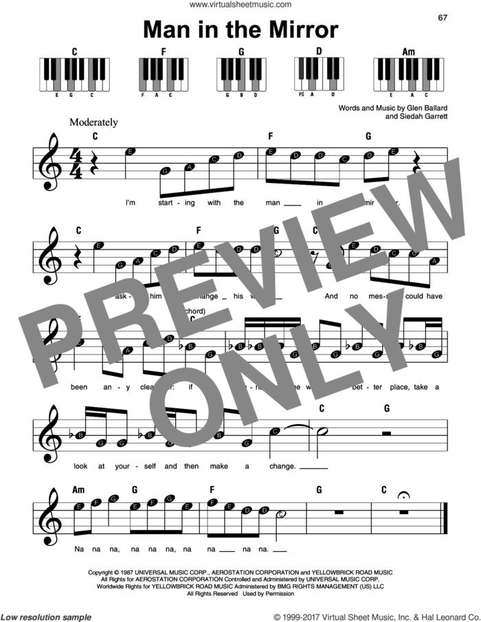 Man In The Mirror, (beginner) sheet music for piano solo by Michael Jackson, Glen Ballard and Siedah Garrett, beginner skill level