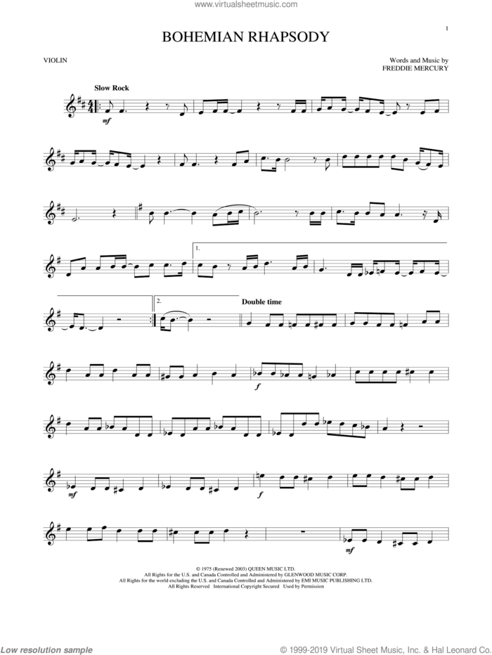 Bohemian Rhapsody sheet music for violin solo by Queen and Freddie Mercury, intermediate skill level
